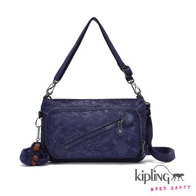 Kipling-手提包-質感藍浮水花朵素面