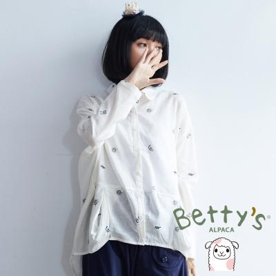 betty's貝蒂思 可愛圖案長版襯衫(白色)