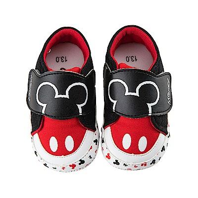 迪士尼 米奇 可愛造型 魔鬼氈寶寶鞋-紅
