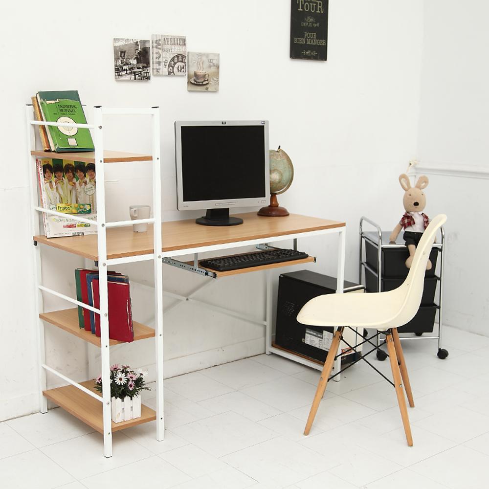 創樂家居 風潮鍵盤層架電腦工作書桌-暖淺木