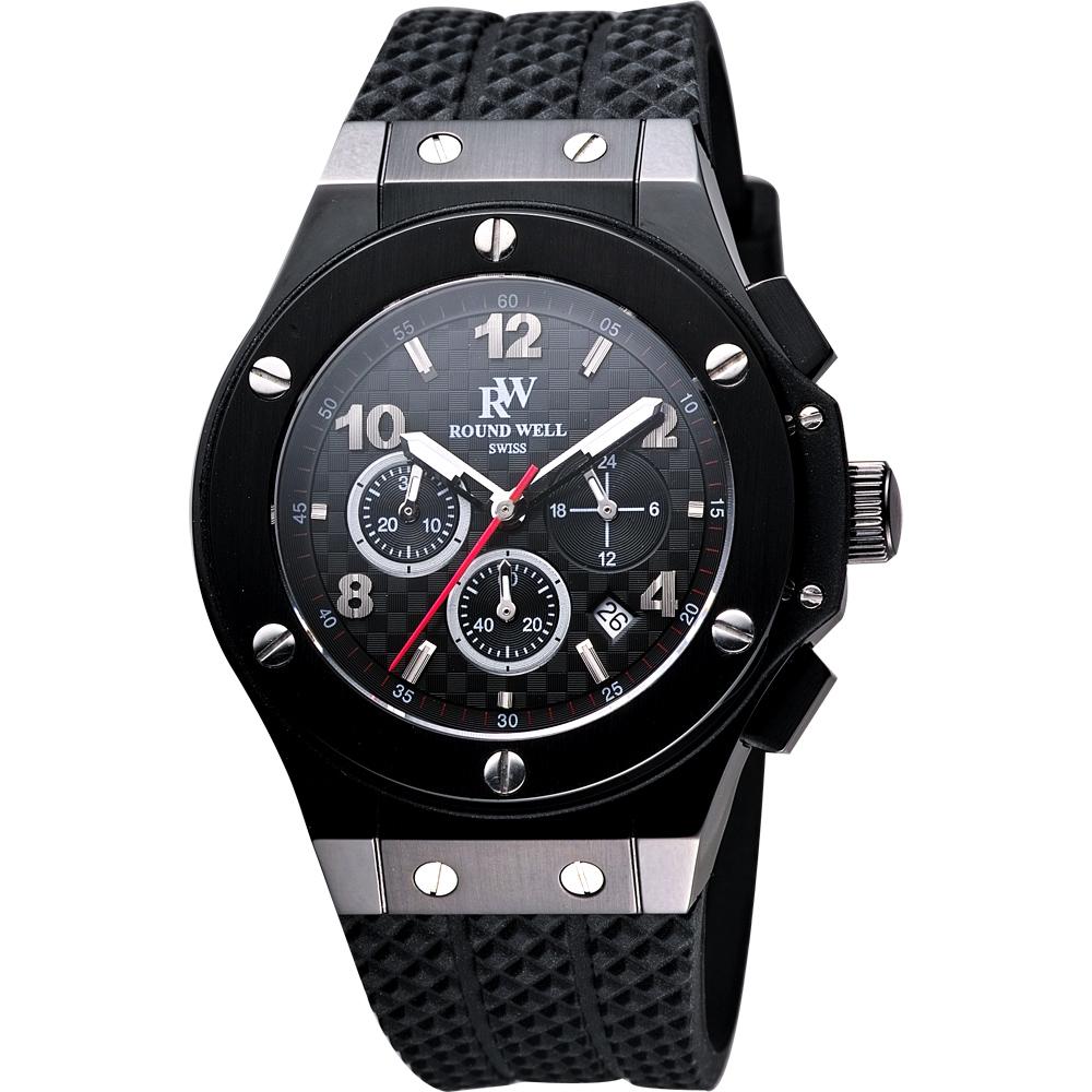 ROUND WELL 絕地武士三眼計時腕錶-黑/45mm