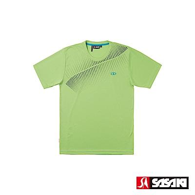 SASAKI 長效性吸濕排汗功能圓領短衫-男-果綠/深灰
