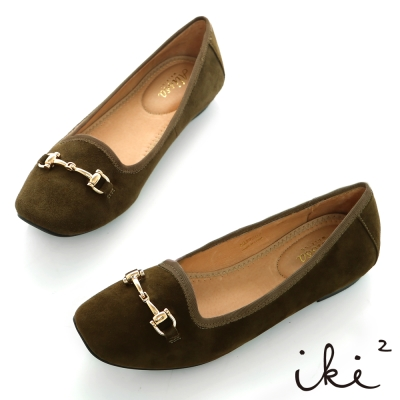 iki2知性美伶-真皮方楦馬蹄釦娃娃鞋-墨綠
