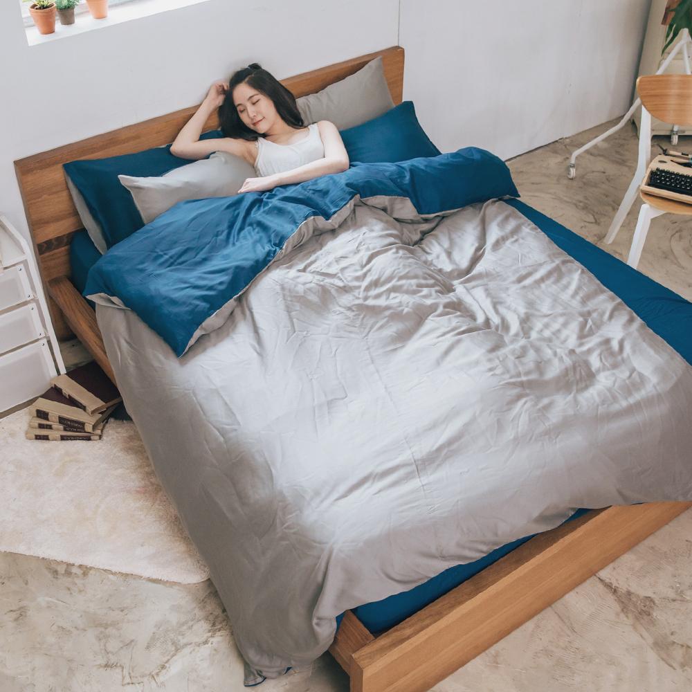 梵蒂尼Famttini-經典淺灰 撞色單人被套床包組-採用天絲萊賽爾纖維