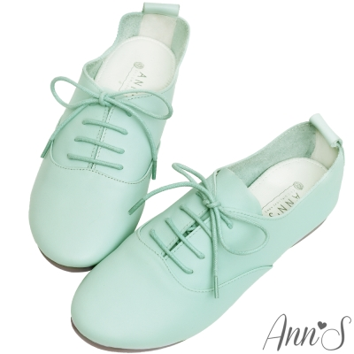 Ann'S全羊皮Q軟文青牛津英倫小白鞋-淺綠