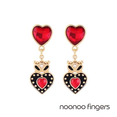 Noonoo Fingers Marie  瑪麗皇冠愛心水鑽耳環