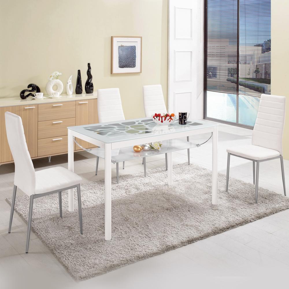 Boden-克萊爾白色玻璃餐桌椅組(一桌四椅)120x70x75cm