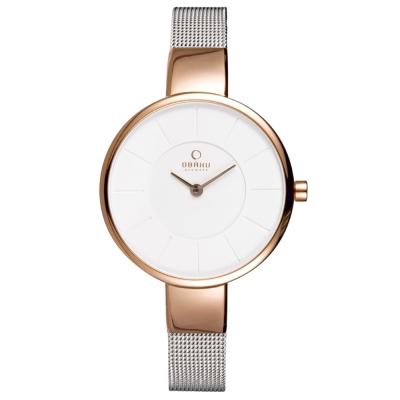 OBAKU 采麗時刻時尚腕錶-白x玫瑰金框/ 32 mm