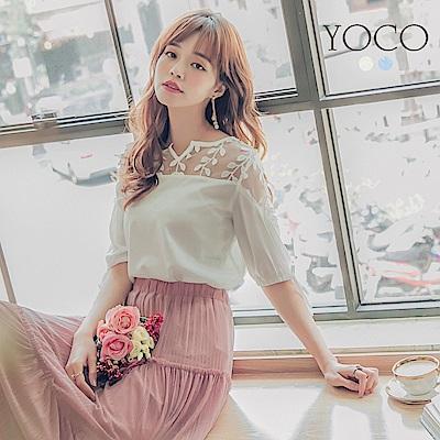 東京著衣-yoco 優雅拼接蕾絲袖口綁帶拋袖上衣-S.M.L(共二色)