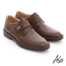 A.S.O 頂級氣墊手縫系列 全真皮魔鬼氈奈米氣墊鞋 咖啡色