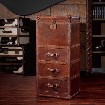 MUSE - Herman赫曼復古工業風牛皮三抽掀蓋收藏箱