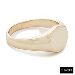 SHASHI SIGNET 愛之封印 素面戒 定情戒 求婚戒 925純銀鑲18K金