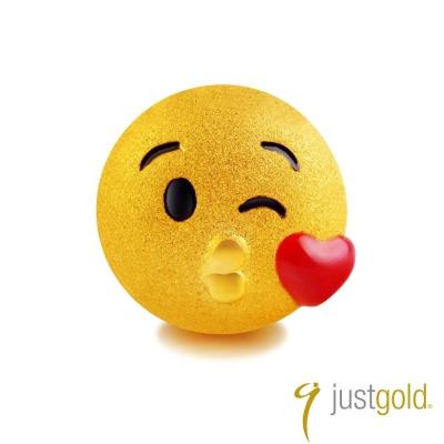鎮金店Just Gold 黃金單耳耳環- 繽紛派對(KISS)