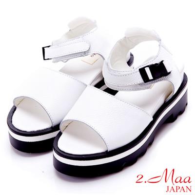 2.Maa 真皮寬帶扣環厚底涼鞋-白