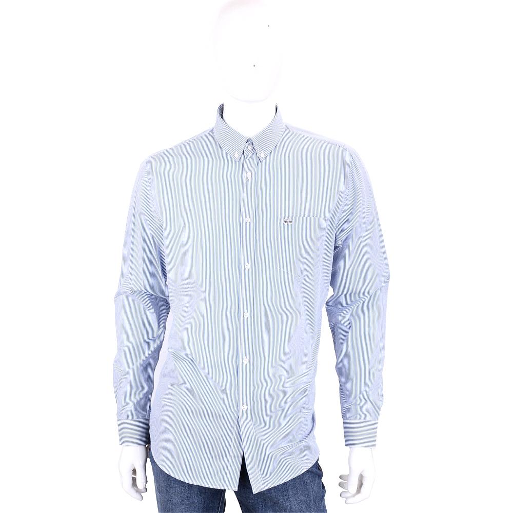 LACOSTE Classic Fit 條紋棉質長袖襯衫(藍色/男款)