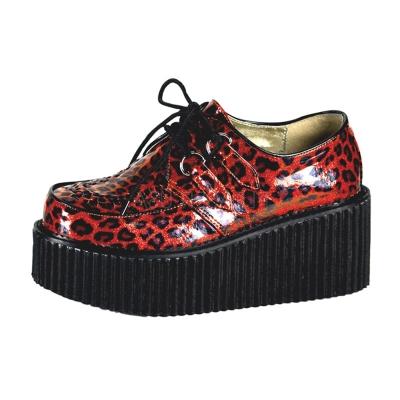 DEMONIA漆皮豹紋8公分龐克鞋-紅