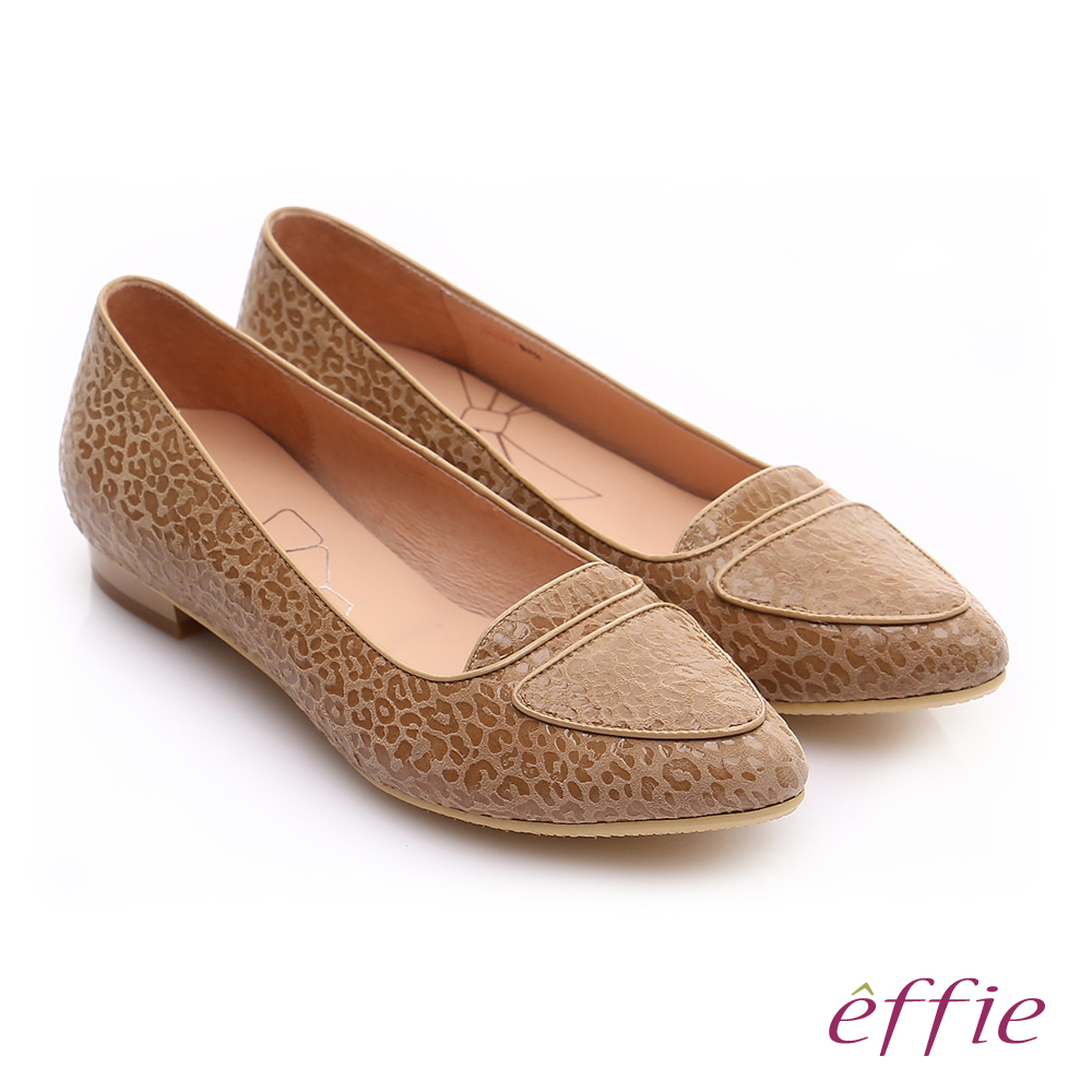 effie 繽紛舒適 真皮動物紋尖楦低跟鞋 卡其