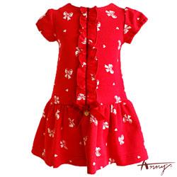 Anny針織單排釦蝴蝶結塗鴉洋裝*5404紅