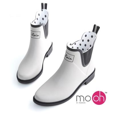 mo.oh愛雨天-撞色切爾西橡膠短筒雨靴-灰黑