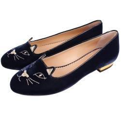 Charlotte Olympia Kitty 經典天鵝絨貓咪平底鞋(深藍色)