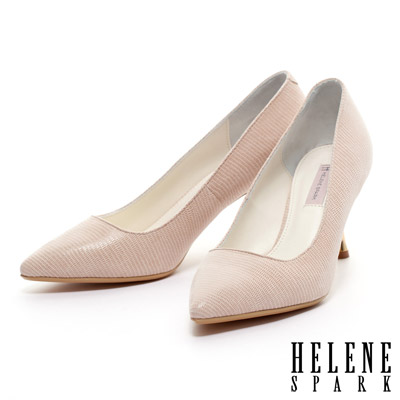 HELENE-SPARK-蜥蜴貼膜羊皮素面尖頭金屬高跟鞋-米