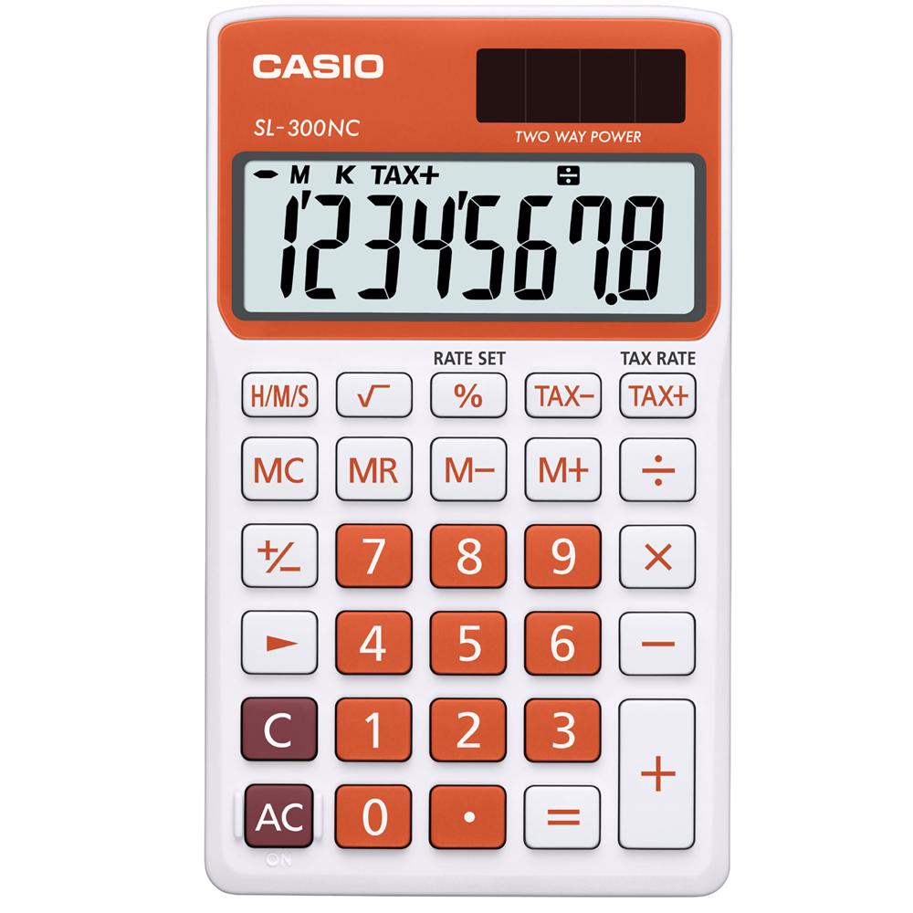 CASIO 8位數商務時尚輕巧攜帶型計算機(SL-300NC-RG)白/橘色