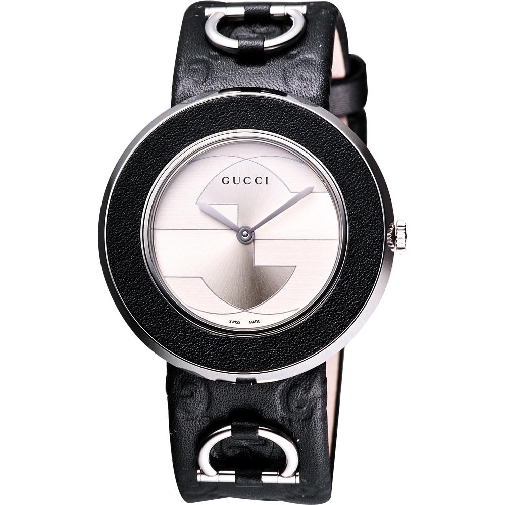 GUCCI  U-Play 系列 G&G時尚腕錶-銀/黑框/35mm