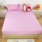 bedtime story 100%純棉-素色薄床包枕套組_紫粉_雙人5尺