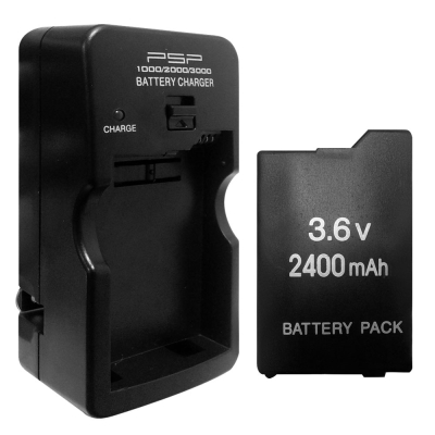 PSP (2007/3007)薄機可折式充電器+2400mAh電池
