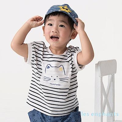 les enphants baby 條紋貓咪連袖天絲上衣 深藍