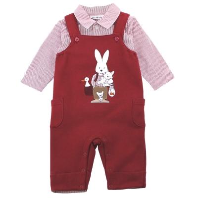 愛的世界 pappa&ciccia 長袖襯衫吊帶褲套裝/ 6 M~ 2 歲