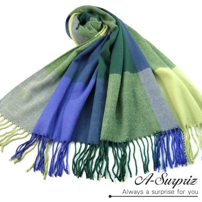 A-Surpriz-典雅英倫方格寬版仿羊絨披肩圍巾-綠藍格