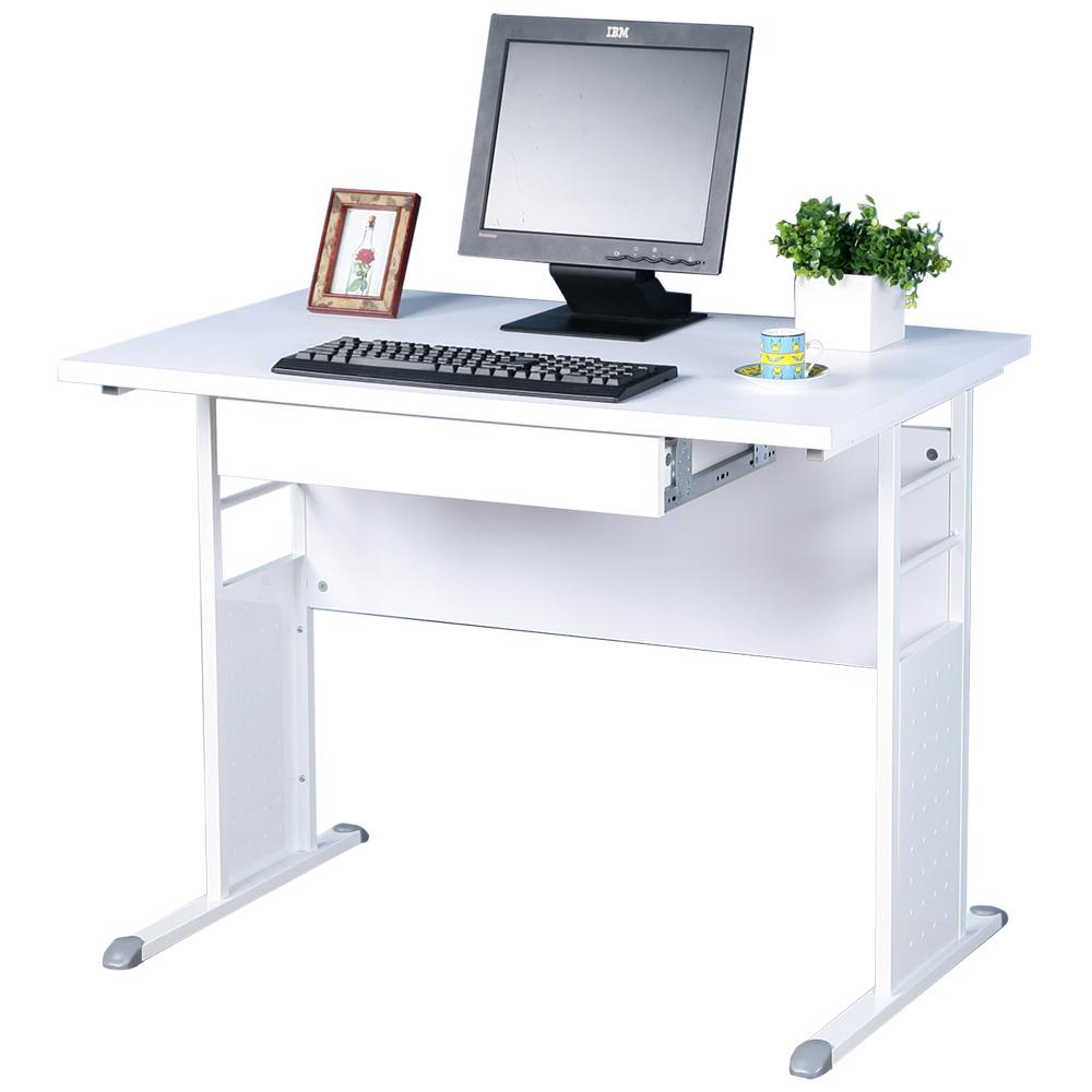 Homelike 巧思100x60辦公桌(附抽屜)-白桌面/亮白桌腳