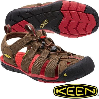 KEEN 戶外護趾涼鞋Clearwater CNX 男1014452深咖/紅