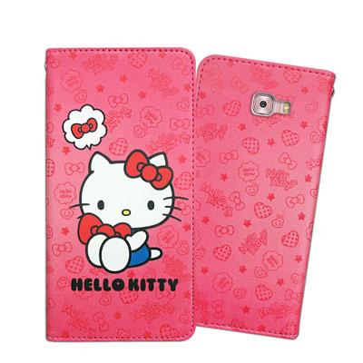 三麗鷗 Kitty Samsung Galaxy C9 Pro 甜心磁扣皮套(抱...