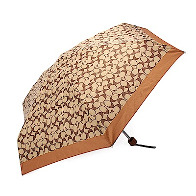 COACH 經典滿版LOGO輕便晴雨傘-咖啡色
