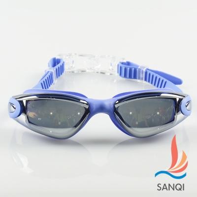 SANQI三奇 夏日必備抗UV防霧休閒泳鏡(9018-藍F)