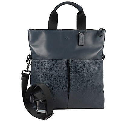 COACH雙口袋紳士牛皮拼接兩用手提包(深藍)