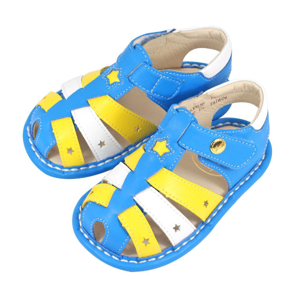 Swan天鵝童鞋-星星撞色寶寶涼鞋1516-藍