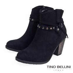 Tino Bellini原始況味鉚釘高跟短靴_黑