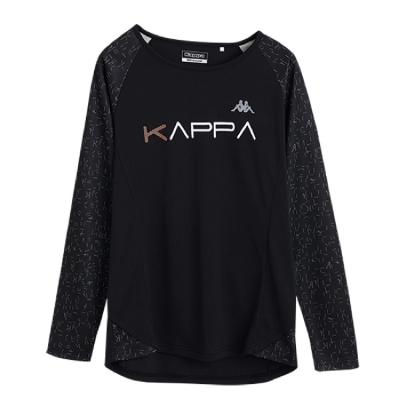 KAPPA義大利女吸濕排汗速乾彩色滿版印花長袖衫 黑 黑滿版