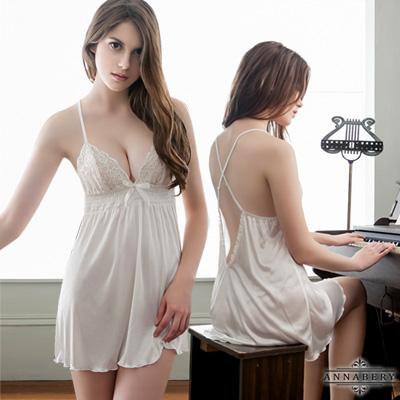 大尺碼-白潤交叉肩帶美背柔緞睡衣L-2L-Anna