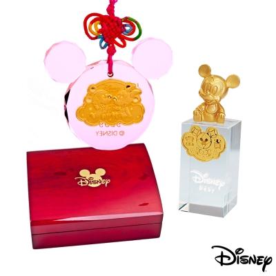 Disney迪士尼金飾 金報喜黃金/水晶鎖片+米奇水晶印章木盒