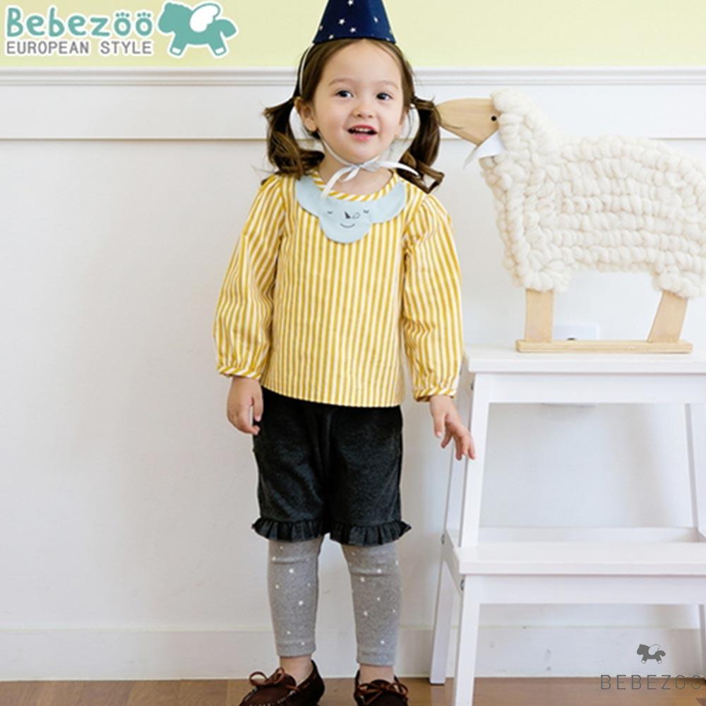 BEBEZOO 韓國 雲朵黃色直條紋長袖上衣灰色星星假兩件長褲套裝兩件組