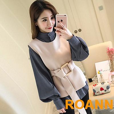 燈籠袖襯衫+毛呢背心兩件套 (共二色)-ROANN
