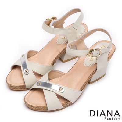 DIANA-歐美風格-簡約飾釦交叉繞帶真皮涼跟鞋-白
