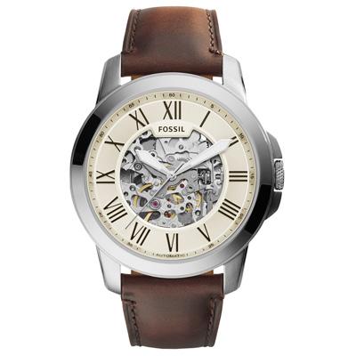FOSSIL 流逝歲月經典機械錶-銀框米色x褐色皮帶/43mm(ME3099)