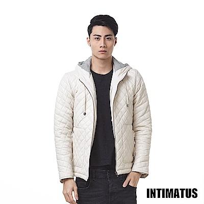 真皮小羊皮衣時尚潮派菱格紋-米白色 INTIMATUS