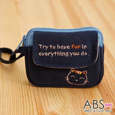 ABS貝斯貓 - HaveFun微笑貓咪拼布 雙層複合功能零錢包 88 - 178  - 海洋藍