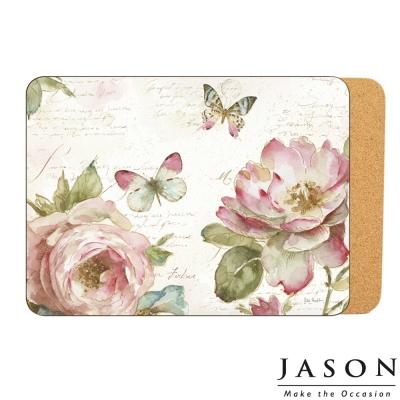 Jason紐西蘭進口長方軟木塞餐墊29*21.5cm-花與蝴蝶(6入) (8H)